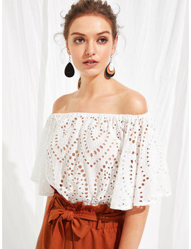 Off Shoulder Embroidery Eyelet Solid Top by Shein