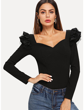 Layered Ruffle Trim Sweetheart Neckline Tee by Shein
