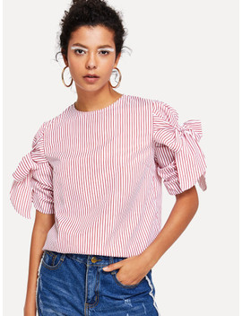 Knotted Ruched Sleeve Striped Top by Shein