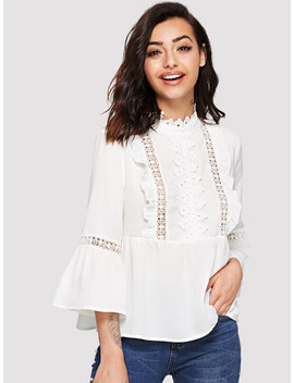 Lace Detail Flounce Sleeve Smock Top by Shein