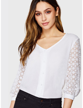 Circle Lace Insert Sleeve Button Up Shirt by Shein