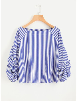 Contrast Striped Ruched Sleeve Blouse by Sheinside