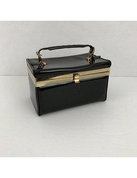 Vintage Black Verdi Patent Leather Gold Hardware Box Trunk Style Purse Handbag by Craftyseller