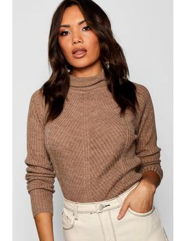 Rib Knit Roll Neck Jumper by Boohoo