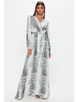 Grey Snake Wrap Front Maxi Dress by Missguided