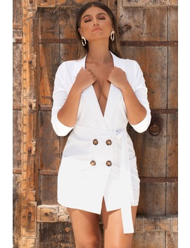 Tie Me A River Blazer Mini Dress In White by Oh Polly