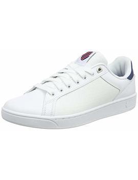 K Swiss Men's Clean Court Cmf Low Top Sneakers, White Black, 11 Uk by K Swiss