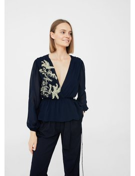 Embroidered Wrap Blouse by Mango