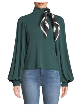 Jersey Puff Sleeve Top With Scarf by Self Portrait