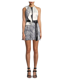 Belted Contrast Frill Mini Dress by Self Portrait