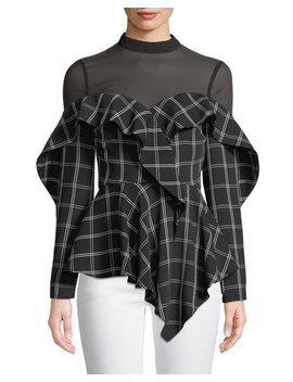 Long Sleeve Check Ruffle Handkerchief Top by Self Portrait