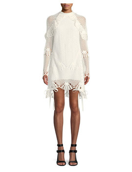 Crewneck Crochet Lace Short Tunic Dress by Self Portrait