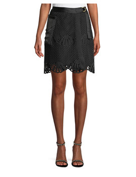 Scalloped Crochet Lace Mini Skirt by Self Portrait