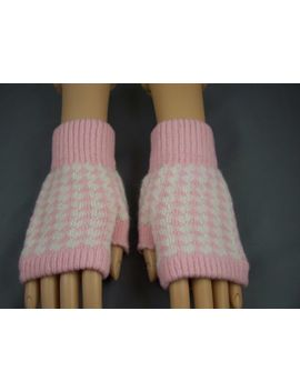 Pink Cream Wool Angora Arm Warmers Fingerless Gloves Texting Open Thumb by Unbranded