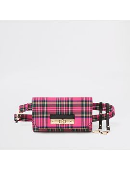 Pink Check Lock Front Belt Bum Bag by River Island
