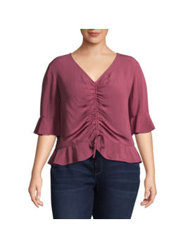 Arizona 3/4 Sleeve V Neck Woven Blouse Juniors Plus by Arizona
