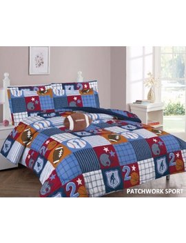 Elegant Home Patchwork Sports Football Basketball Baseball Design Printed 8 Piece Comforter Bedding Set For Boys /Kids Bed In A Bag With Sheet Set & Decorative Toy Pillow # Patchwork (Full Size) by Elegant Home