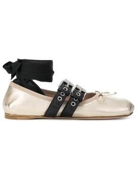 Miu Miubailarinas Con Cinta En El Tobillohome Mujer Miu Miu Zapatos Flats by Miu Miu