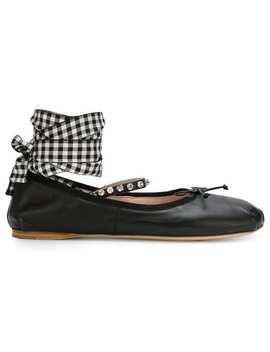 Miu Miubailarinas Con Cierre Con Tira En El Tobillohome Mujer Miu Miu Zapatos Flats by Miu Miu