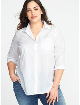 Classic Plus Size No Peek Button Front Shirt by Old Navy