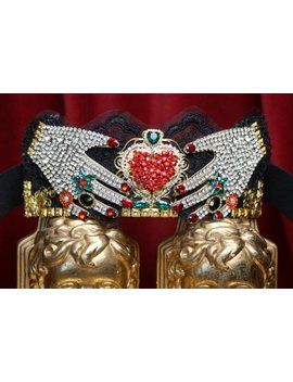 Baroque Rococo Crystal Hands Red Heart Wide Waist Belt by Festy Designs