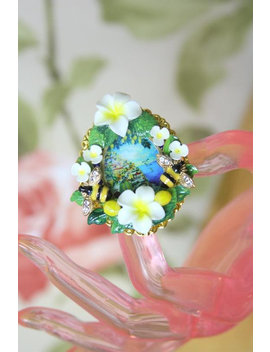 Sicilian Lemon Taormina Bee Adjustable Cocktail Ring by Festy Designs