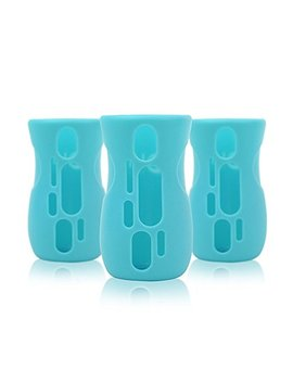 Olababy Silicone Sleeve For Avent Natural Glass Bottles (Pack Of 3) (8 Oz, Blue) by Olababy