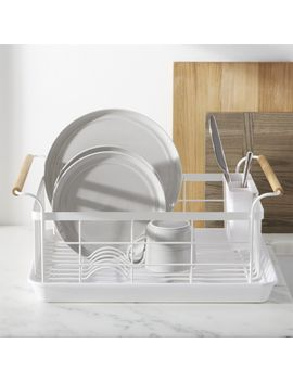 Tosca White Dish Rack With Wood Handles by Crate&Barrel
