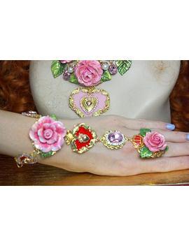 Slave Bracelet Baroque Hand Painted Enamel Rose Heart Crown Pearl Crystal by Festy Designs