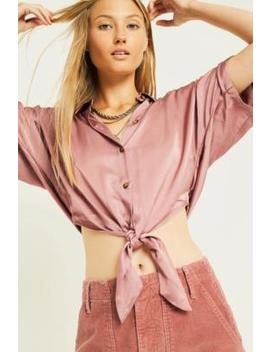 Uo Jenna Lilac Satin Tie Front Shirt by Urban Outfitters