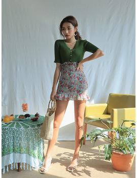 Flounce Hem Floral Print Skirt by Stylenanda