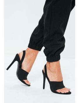 Black Sporty Toe Post Sling Back Heels by Missguided