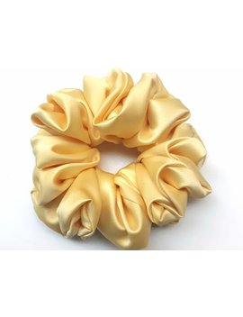 Yellow Satin Hair Scrunchie by Haute Made Gr