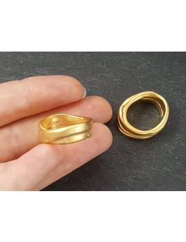 2 Chunky Thick Organic Oval Ring Closed Loop Pendant Connector    22k Matte Gold Plated   1 Pc by Lyla Supplies