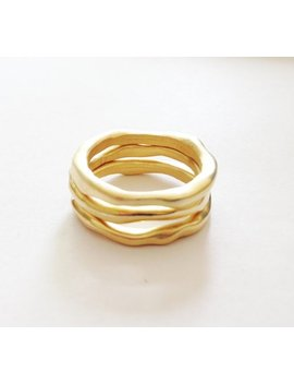 Organic Shaped Ladies Gold Rings // Matt Gold Plated 3 Stack Ring Set // Made In England // Gold Stacking Rings by Retrorox Jewellery