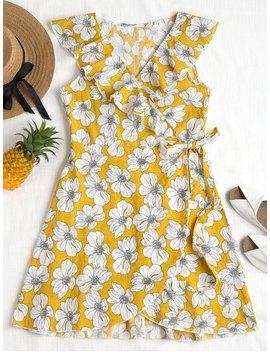 Ruffles Floral Wrap Dress   Mustard L by Zaful