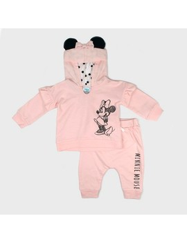 Baby Girls' Disney Mickey Mouse & Friends Minnie Mouse Hooded Sweatshirt And Kangaroo Pocket Joggers Set   Pink by Shop All Disney
