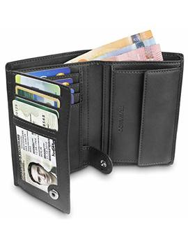 "Travando ® Mens Wallet Black ""Dublin""   Rfid Blocking   Durable Bifold Wallet   Card Holder   Coin Pocket   Gift Box (Black) by Travando"
