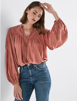 Lace Mix Peasant Top by Lucky Brand