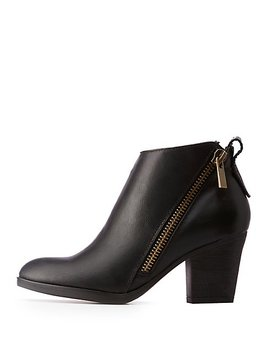 Asymmetrical Zipper Ankle Booties by Charlotte Russe