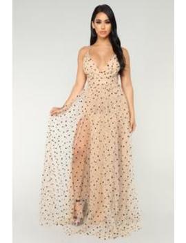 Polka Dot Frenzy Maxi Dress   Nude by Fashion Nova