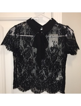 Nwt Black Collared Lace Tie Top   Nwt by Poshmark