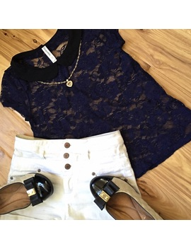 Floral Lace Navy Blue Tee Black Peter Pan Collar by Poshmark