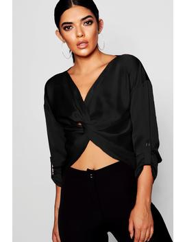 Satin Twist Front Crop by Boohoo