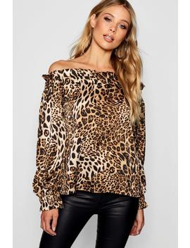 Off The Shoulder Leopard Print Blouse by Boohoo