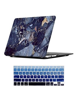 Mac Book Air 13 Inch Case,I Casso Rubber Coated Glossy Hard Shell Plastic Protective Case Cover For Apple Laptop Mac Book Air 13 Inch Model A1369/A1466 With Keyboard Cover (Blue Marble) by Amazon