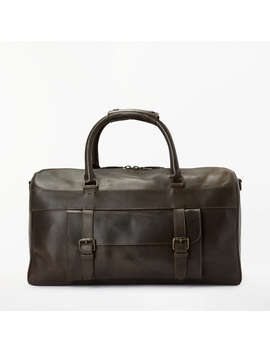 John Lewis Milan Leather Holdall, Brown by John Lewis