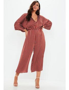 Combinaison Jupe Culotte Rouille à Pois Grandes Tailles by Missguided