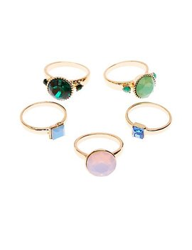 Rhinestone Rings   5 Pack by Charlotte Russe