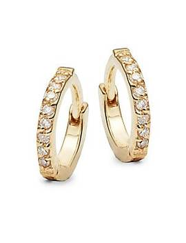 Diamond And 14 K Yellow Gold Stud Earrings by Danni